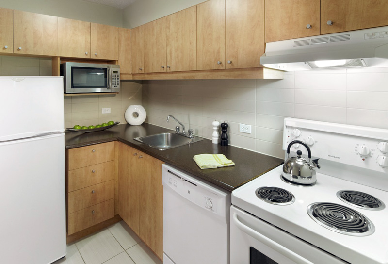 Kitchen. Furnished. Furnished Rental Apartment Downtown Montreal