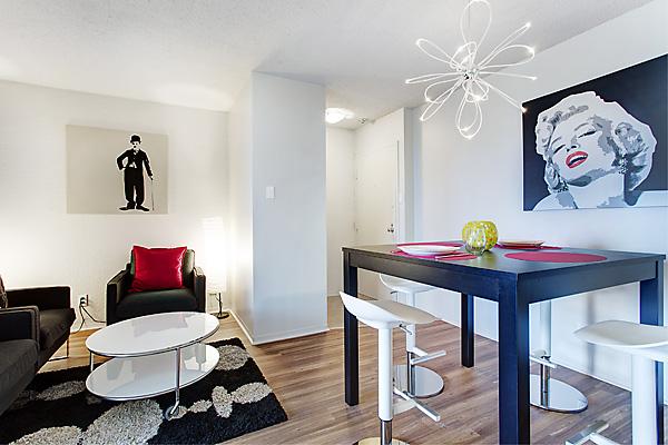 salon dans un appartement étudiant partagé à Montréal