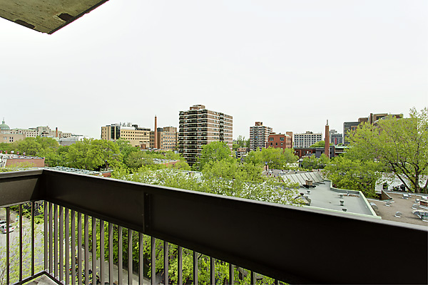 balcony in a shared student apartment in montreal